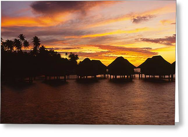 Silhouette Of Stilt Houses Greeting Card by Panoramic Images