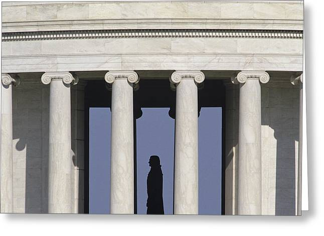 Silhouette Of The Jefferson Memorial Greeting Card by Kenneth Garrett