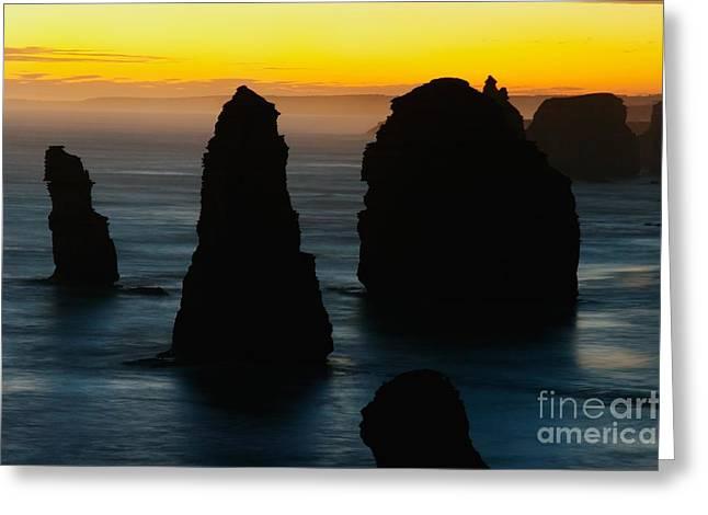 Silhouette Of The Twelve Apostles At Sunset Greeting Card by Hideaki Sakurai