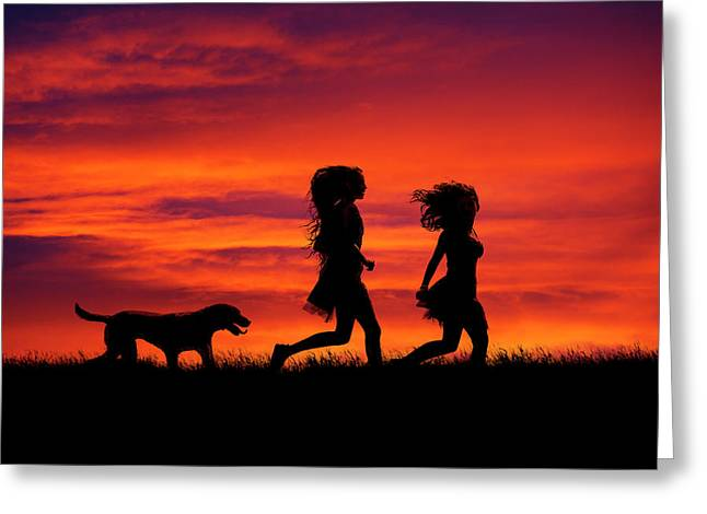 Silhouette Of Two Girls And Dog Greeting Card