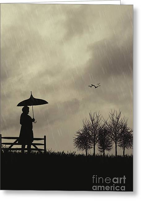 Silhouette Of Woman With Umbrella Greeting Card by Amanda Elwell