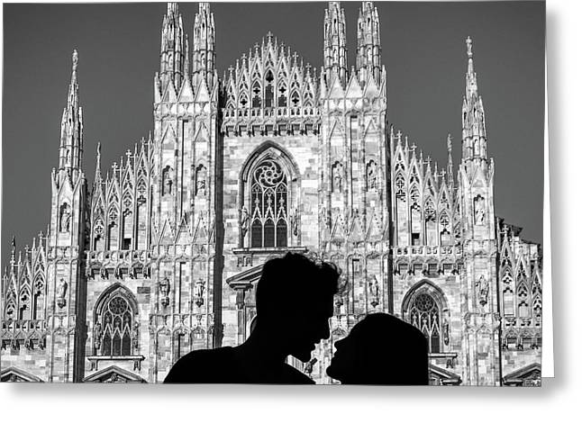 Silhouette Of Young Couple Kissing In Front Of Milan's Duomo Cathedral Greeting Card