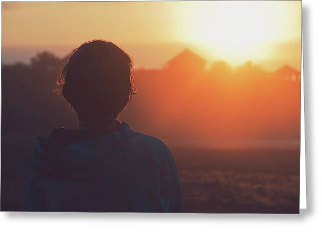 Silhouette Portrait Of A Young Woman With Short Hair Watching Beautiful Sunset Greeting Card
