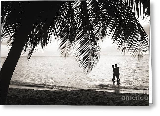Silhouetted Couple Greeting Card by Larry Dale Gordon - Printscapes