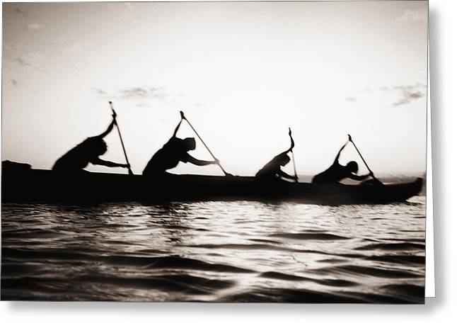 Silhouetted Paddlers Greeting Card by Bob Abraham - Printscapes