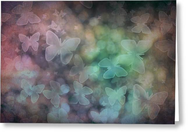 Silhouettes Of Butterflies Greeting Card by Marianna Mills