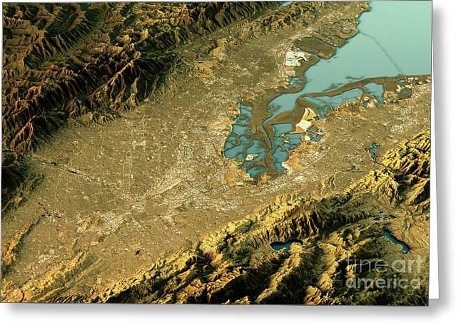 Silicon Valley 3d Landscape View East-west Natural Color Greeting Card
