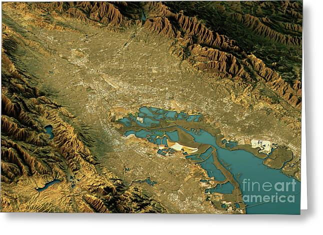 Silicon Valley 3d Landscape View North-south Natural Color Greeting Card