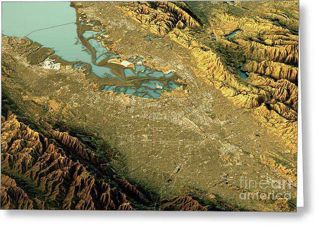 Silicon Valley 3d Landscape View South-north Natural Color Greeting Card