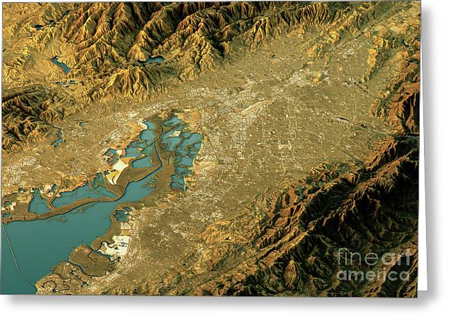 Silicon Valley 3d Landscape View West-east Natural Color Greeting Card