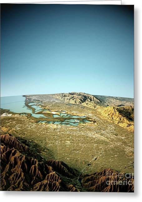 Silicon Valley 3d View South To North Natural Color Greeting Card