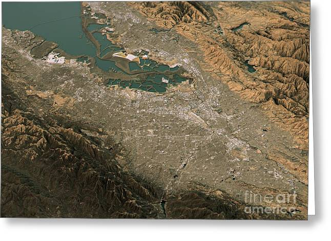 Silicon Valley Topographic Map 3d Landscape View Natural Color Greeting Card