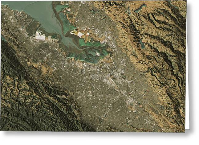 Silicon Valley Topographic Map Natural Color Top View Greeting Card