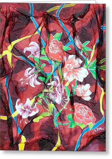 Silk Floral Ribbon Greeting Card