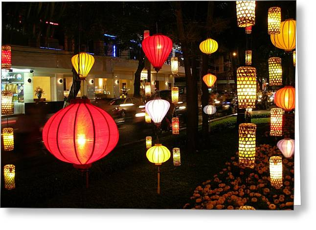 Silk Lamp Shades On The Street In Saigon Greeting Card
