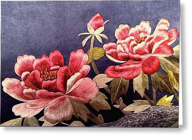 Silk Peonies - Kimono Series Greeting Card