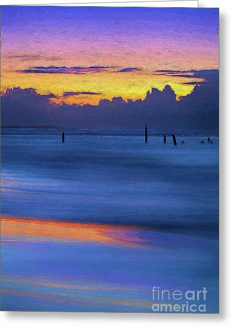 Greeting Card featuring the painting Silky Sunrise Reflections Outer Banks Ap by Dan Carmichael