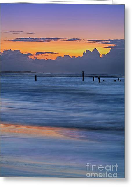 Silky Sunrise Reflections Outer Banks Greeting Card by Dan Carmichael