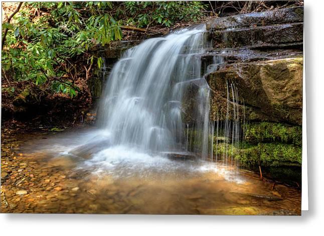 Silky Waterfall Greeting Card by Debra and Dave Vanderlaan