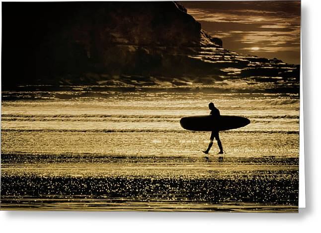 Sillhouette Of Surfer Walking On Rossnowlagh Beach, Ireland  Greeting Card