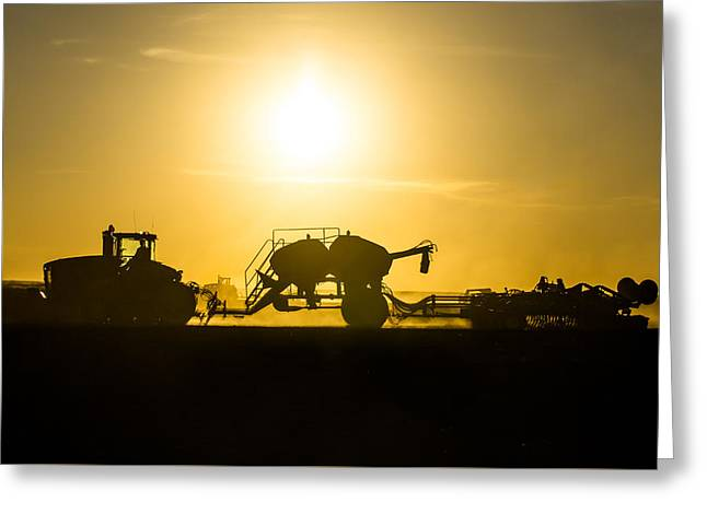 Sillhouette Of Tractors Planting Wheat Greeting Card