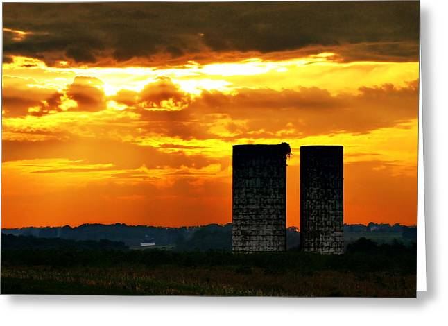 Silos At Sunset Greeting Card