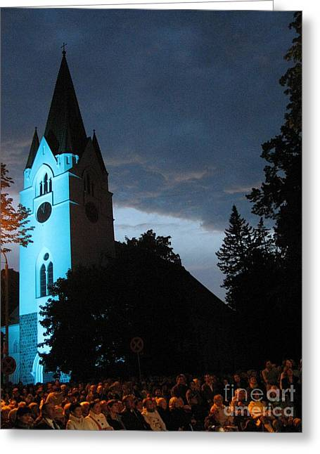 Greeting Card featuring the photograph Silute Lutheran Evangelic Church Lithuania by Ausra Huntington nee Paulauskaite