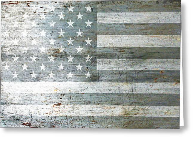 Silver American Flags Greeting Card by Tony Rubino