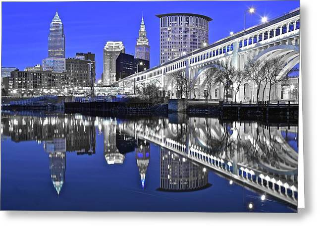 Silver And Blue  Greeting Card by Frozen in Time Fine Art Photography