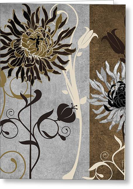 Art Nouveau Paintings Greeting Cards - Silver and Cinnamon I Greeting Card by Mindy Sommers