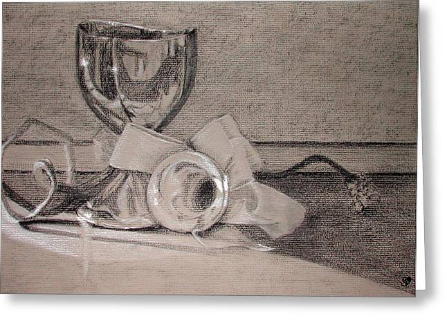 Silver And Glass Still Life Greeting Card by Rebecca Tacosa Gray