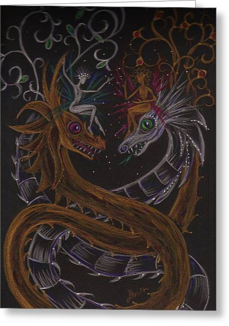 Greeting Card featuring the drawing Silver And Gold by Dawn Fairies