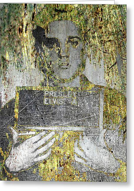 Silver And Gold Elvis Presley Mug Shot Greeting Card