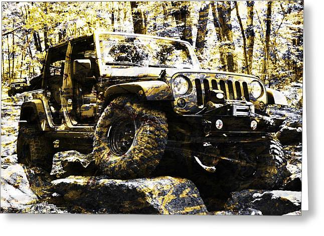Silver And Gold Jeep Wrangler Jku Greeting Card