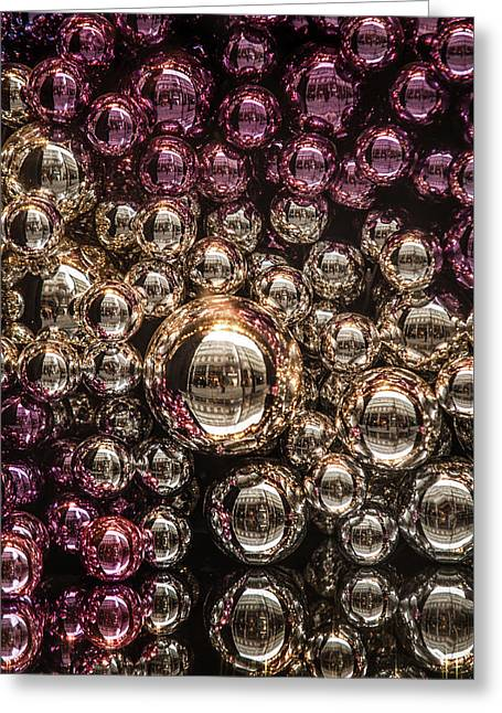 Silver And Purple Christmas Balls Greeting Card by Jenny Rainbow