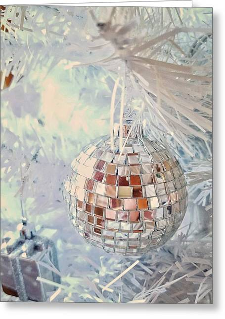 Silver And White Christmas Greeting Card
