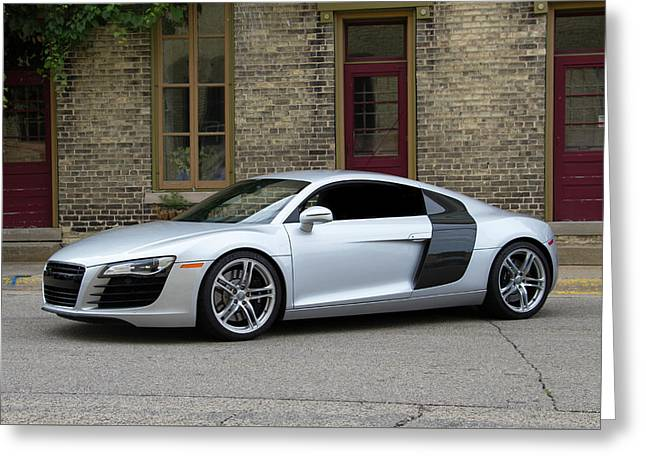 Silver Audi R8 Greeting Card by Joel Witmeyer