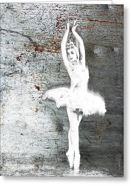 Silver Ballet Dancer Extended Greeting Card