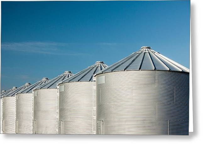 Silver Bins On Blue Greeting Card by Todd Klassy