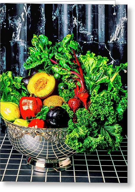 Silver Bowl Full Of Vegetables Greeting Card