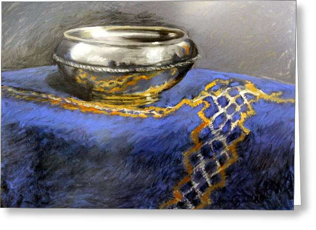 Silver Bowl Greeting Card by Lenore Gaudet