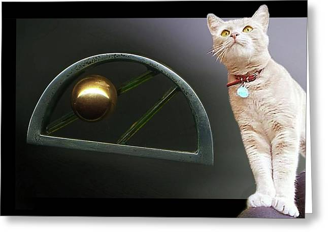 Cat, Silver And Gold  Brooch Greeting Card