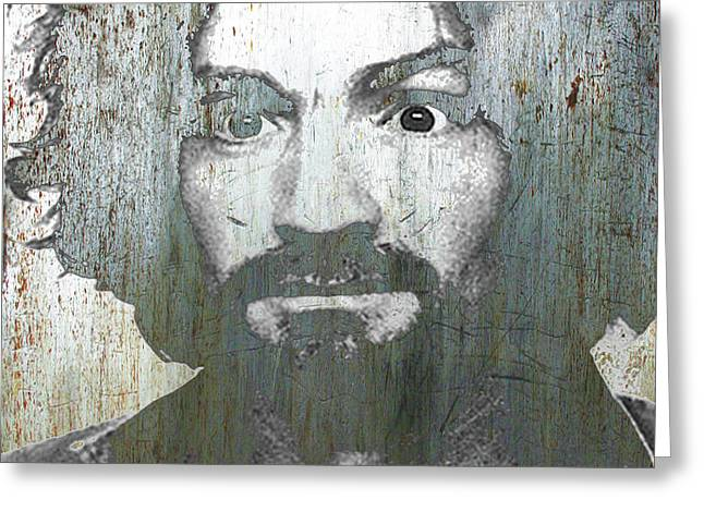 Silver Charles Manson Mug Shot 1969 Vertical  Greeting Card by Tony Rubino