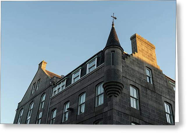 Silver City Architecture - Aberdeen Facade With A Whimsical Tower At Sunrise Greeting Card by Georgia Mizuleva