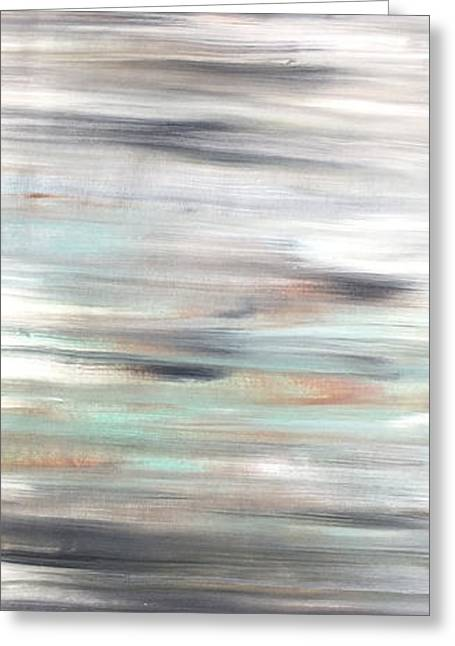 Silver Coast #25 Silver Teal Landscape Original Fine Art Acrylic On Canvas Greeting Card