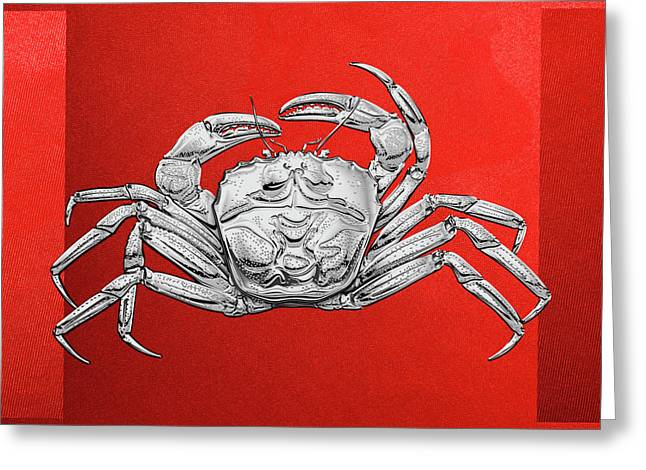 Greeting Card featuring the digital art Silver Crab On Red Canvas by Serge Averbukh
