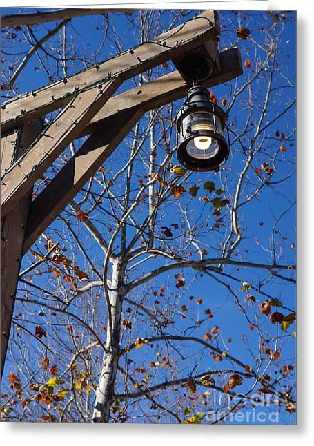Silver Dollar City Street Light Greeting Card by Jennifer White
