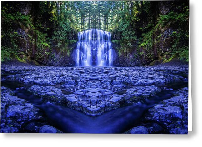 Silver Falls - Upper North Falls Reflection 2 Greeting Card by Pelo Blanco Photo