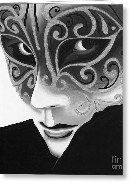 Silver Flair Mask - Bw Greeting Card by Patty Vicknair