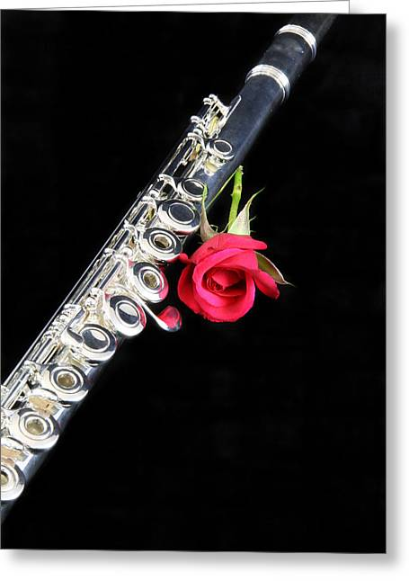 Silver Flute Red Rose Greeting Card